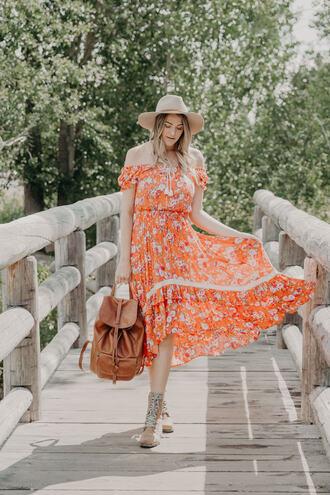 a little dash of darling blogger dress shoes bag midi dress orange dress off the shoulder dress summer dress summer outfits backpack