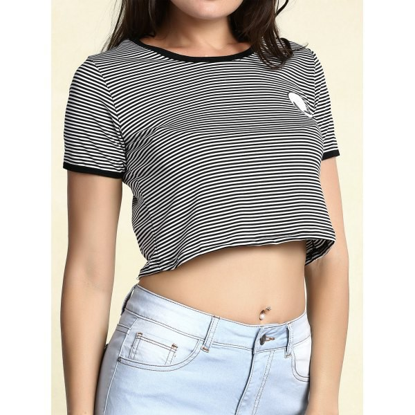 top alien fashion stripes black and white crop tops cool teenagers aliexpress
