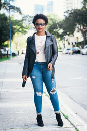 pinksole,blogger,jewels,jacket,t-shirt,jeans,shoes,bag,leather jacket,ankle boots