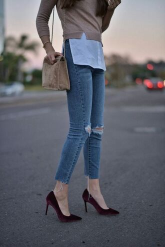 shoes tumblr pumps pointed toe pumps high heel pumps velvet velvet shoes burgundy denim jeans blue jeans ripped jeans bag nude bag