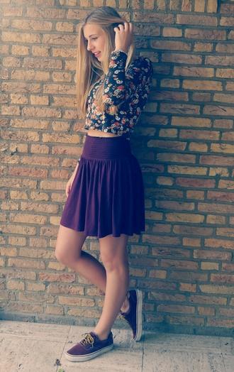 skirt floral crop tops