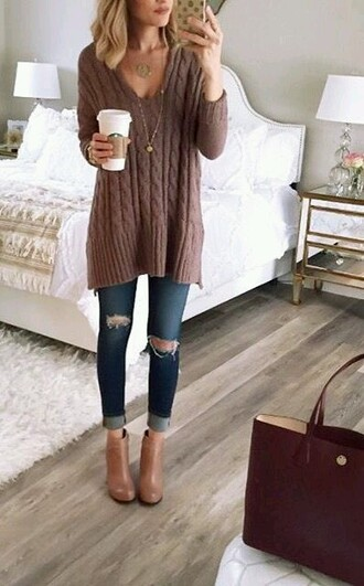 jeans cable knit ripped jeans sweater brown knit sweater grey sweater oversized sweater brown sweater