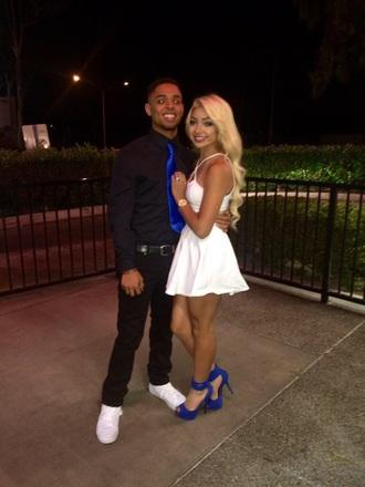 dress white short dress open back blue heels white short dress