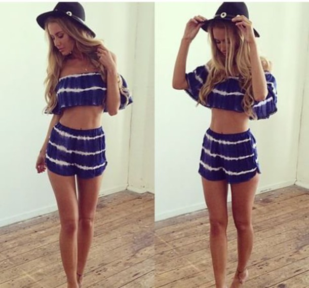 blouse shorts summer shorts summer top dark blue tank top jumpsuit two piece suit blue shorts shirt
