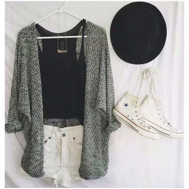 cardigan short converse weheartit sweater white coat top pretty tumblr gray coat grey shoes shorts t-shirt hat jacket grey/black jacket