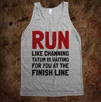 tank top channing run motivation clothes workout skirt grey channing tatum red black shirt sportswear running running top running tank top grey top