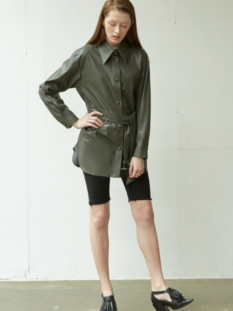 NUVO.10 Vegan Leather Belted Shirt on Garmentory