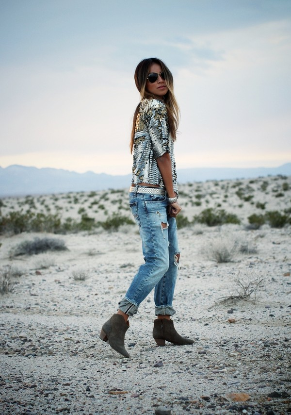 sincerely jules blouse jeans belt shoes sequin shirt sequins silver blue jeans denim aviator sunglasses