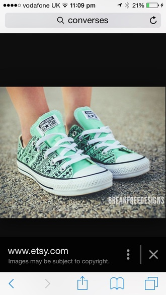 shoes green blue etsy.com pattern converse shoes mint fashion style converse tribal pattern