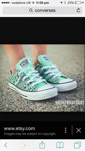 b9ec440374df shoes green blue etsy.com pattern converse mint fashion style converse  tribal pattern