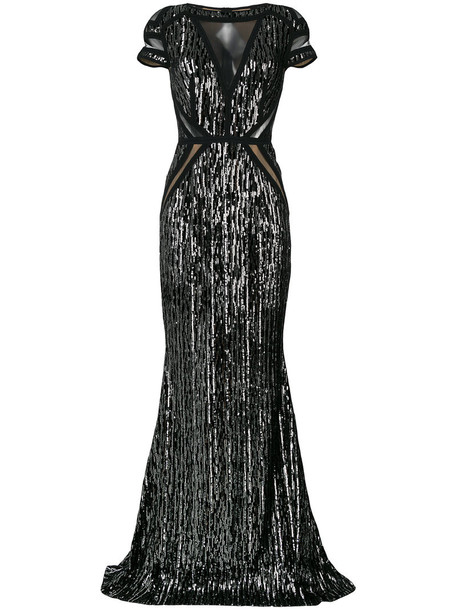 Talbot Runhof gown women spandex black silk dress