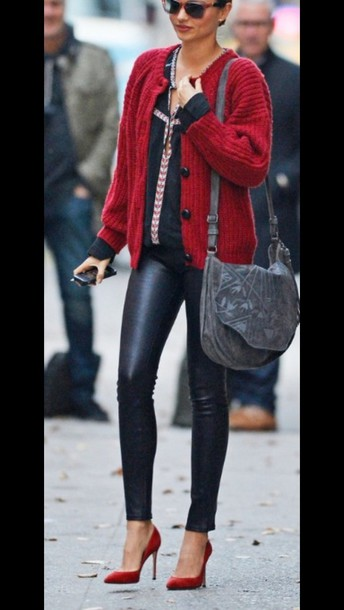 sweater red coat fall outwear outfit miranda kerr pants red sweater knit knitted sweater red black leggings red heels