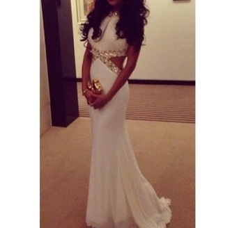 dress white dress gown gold sequins cut out maxi dress prom dress gold goldandwhite mermaid prom dress gold dress boyrfriend jeans white prom dress