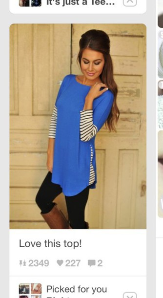 blouse style t-shirt blue shirt fashion fall outfits