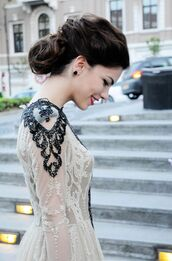 dress,white,white dress,lace dress,lace,black and white,prom dress,vintage,wedding dress,royal,hipster wedding,PLL Ice Ball,gown,black,top,beautiful,pretty,lovely,shoulder,beaded,prom,black lace dress,nude,pale,sheer,Valentino,glamour,luxury,elegant dress,black dress,style,fashion,black and white dress,transparent dress,couture dress,vintage dress,sophisticated dress,timeless evening dress,ball gown dress,princess dress