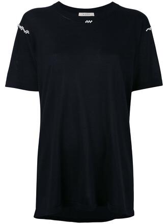 t-shirt shirt women pearl embellished black silk top