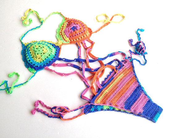 Rainbow crochet monokini swimwear swimsuit bikini women beach wear summer fashion festival