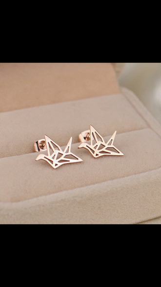 jewels stud earrings birds origami crane