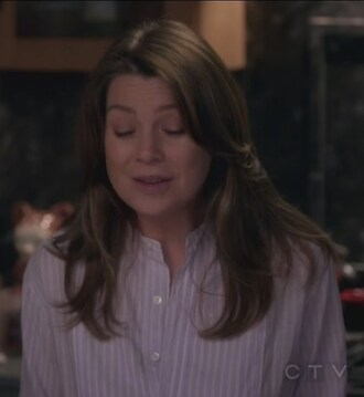 shirt stripes white grey's anatomy meredith grey ellen pompeo