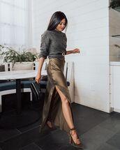 sweater,maxi skirt,slit maxi skirt,belt,handbag