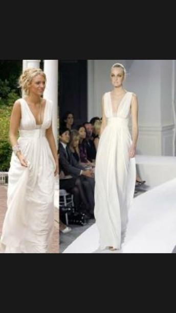 dress white dress blake lively gossip girl serena van der woodsen oscar de la renta spring 08 white flowy wedding dress deep v dress