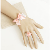 jewels,bow bridal bracelet,rose ring