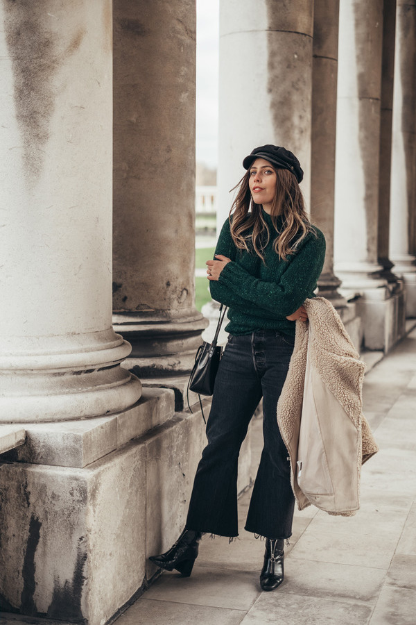 wish wish wish blogger hat coat sweater jeans shoes bag green sweater teddy bear coat boots winter outfits