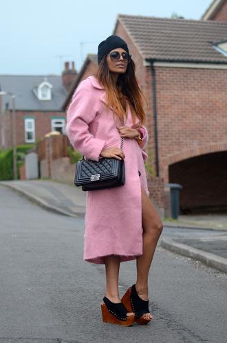 sweater shoes coat bag sunglasses she wears fashion