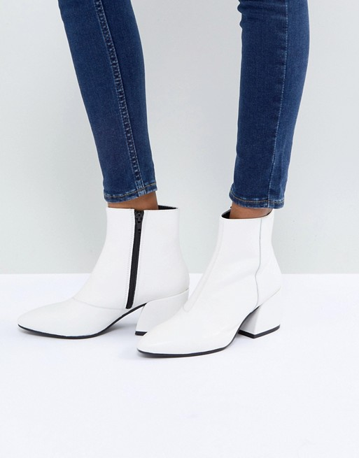Vagabond Olivia White Leather Ankle Boot at asos.com