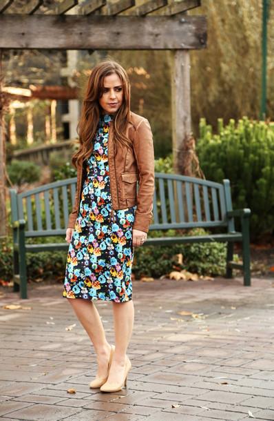 Leather jacket floral dress