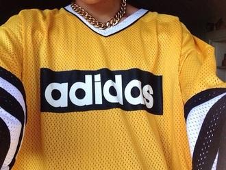 blouse yellow black adidas shirt basketball t-shirt