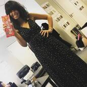 dress,strictly,claudia winkleman,black dress,foil stars