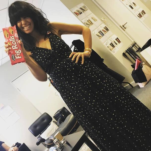 dress strictly claudia winkleman black dress foil stars