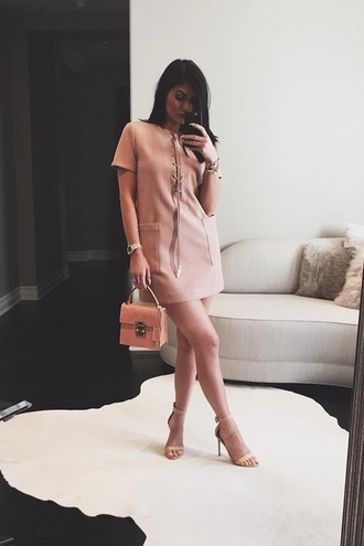 dress kylie jenner nude nude dress rose short lace up