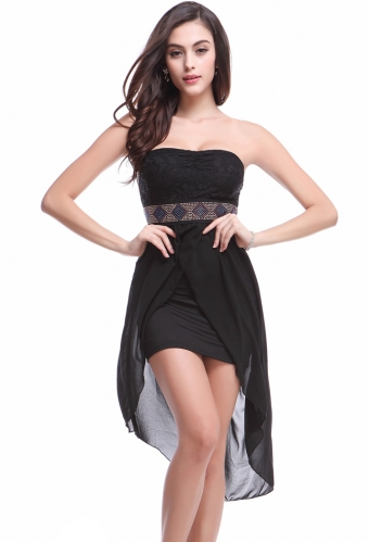Cheap black strapless chiffon clubwear dress is top quality