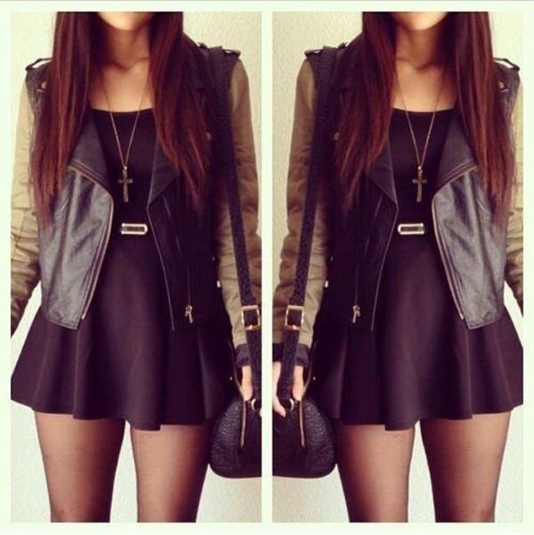 jacket black dress leather jacket clothes dress