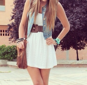 bag leather bag indie style teens hipster glamour white dress dress denim vest denim denim jacket classy belt waist belt blonde hair jacket