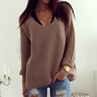 sweater clothes black bra jeans black brown sweater watch brown winter outfits fall outfits long sleeves beige knitwear loose oversized sweater casual blouse gold watch knitted sweater cleavage sexy sweater fall sweater fall colors tan tan sweater low cut long sleeve sweater low cut sweater free people bralette fashion bralette colorful brand v-neck sweater