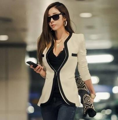 2014 New Fashion Winter Women Slim Blazer Coat Casual Jackets Long Sleeve V-Neck Black White One Button Suit OL Outerwear WT9045   Amazing Shoes UK