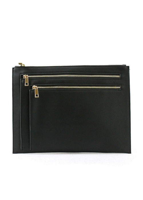 Ella black leather zipper clutch