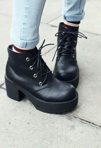 shoes boots black grunge punk 90s style platform shoes lace up mid heel boots blackbotts