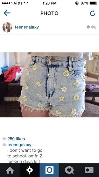 shorts hipster High waisted shorts daisy cute girly