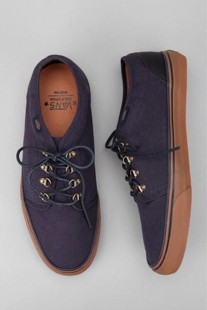 982b7277f2 shoes blue brown vans vans of the wall