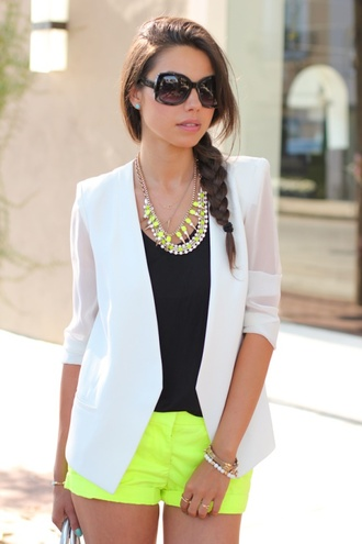 shorts yellow white jacket jewels color neon yellow lime necklace statement necklace summer summer outfits cute fashion spring