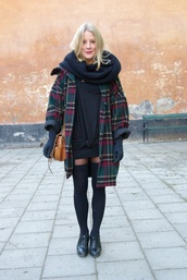 coat,tartan,fall outfits,knee high socks,infinity scarf,scarf,dress,winter outfits