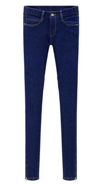 jeans blue denim mid waist jeans zip cuff zipper cuff pocket detailing exposed back pockets www.ustrendy.com