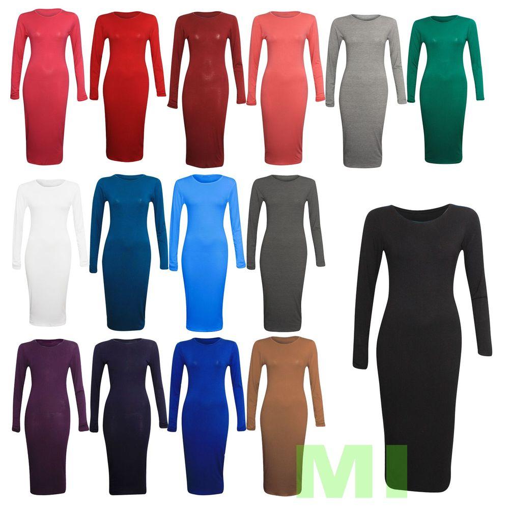 New Womens Ladies Long Sleeve Stretch Plain Bodycon Midi Maxi Dress 8-14 | eBay