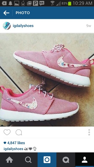 shoes stitched floral floral shoes nike roshe run running shoes nike running shoes nike red white blue active apparel