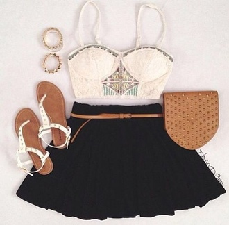 skirt white top diamands jewelry cute perfect summer wonderful sandals bag shoes jewels shirt bracelets ring girly
