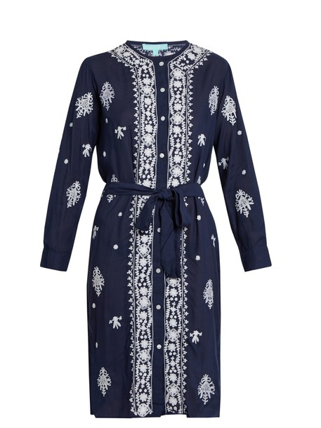 Melissa Odabash dress embroidered dress embroidered fleur navy white